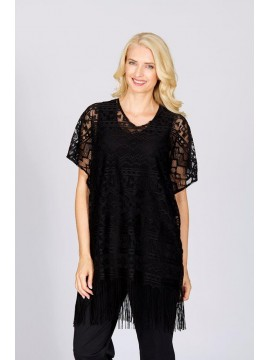 Fringe Lace Top in Black