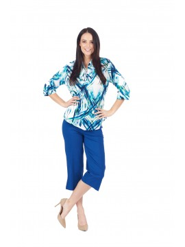 Ladies Blue Crop Pant