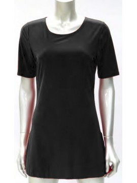 Ladies Korean Jersey Long Cami with 3/4 Length Sleeve in Black