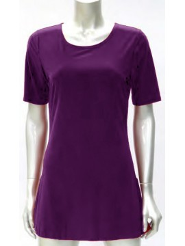 Ladies Korean Jersey Long Cami with 3/4 Length Sleeve in Purple
