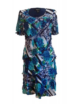 Ladies Chiffon Special Occasion Dress in Blue Print