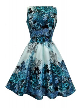 Vintage Tea Dress in Teal Summer Rose
