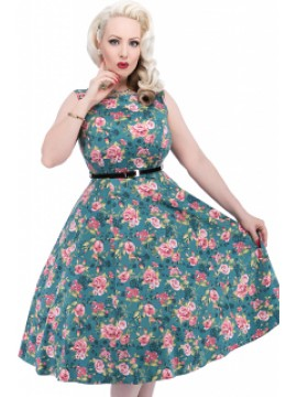 Vintage Hepburn Dress in Teal Floral