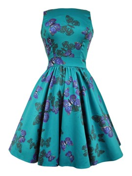 Vintage Tea Dress - Teal Butterfly
