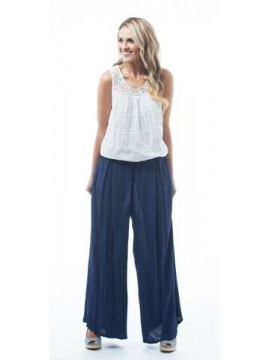 KAJA Wide Leg Linen Cotton Pant in Navy