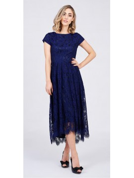 5PM Long Lace Navy Dress