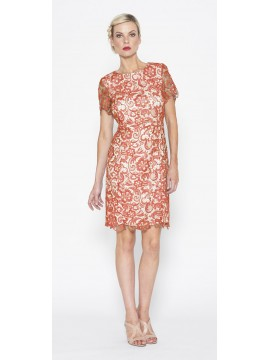 Special Contony Black Label Lace Dress in Coral Pink