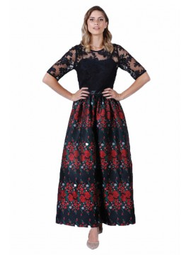 Miss Contony 3/4 Sleeve Evening Dress with Floral Skirt