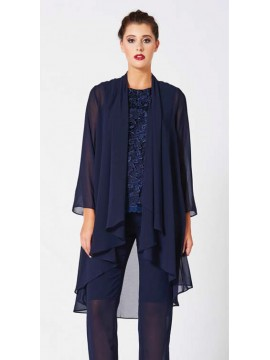 Mei Mei Classic Long Chiffon Jacket in Navy
