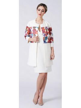 La Scala White Print Long Jacket