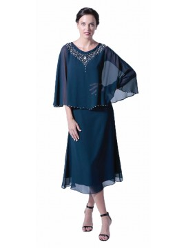 La Scala Navy Cape Dress with Beaded Neckline