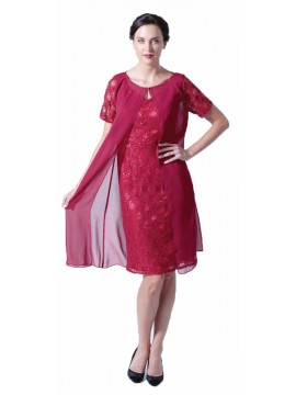 La Scala Red Lace Dress and Chiffon Jacket