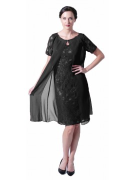 La Scala Black Lace Dress and Chiffon Jacket