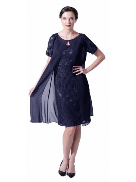 La Scala Navy Lace Dress and Chiffon Jacket
