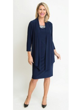 Jaki K Jersey Special Occasion Dress with Beaded Collar in Navy