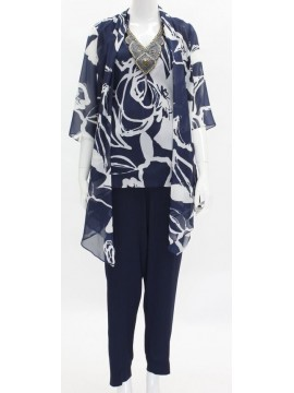 BJC Special Occasion Chiffon Pant, Printed Chffon Top with beading and Jacket