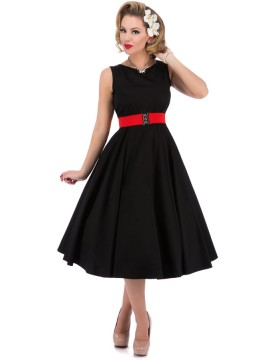 Vintage Hepburn Dress with Elastic Belt in Black