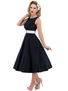 Vintage Hepburn Dress with Elastic Belt in Navy