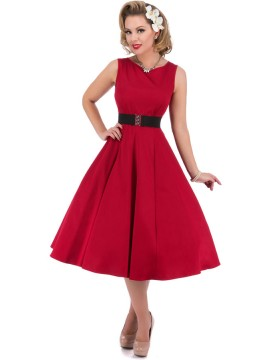 Vintage Hepburn Dress with Elastic Belt in Red
