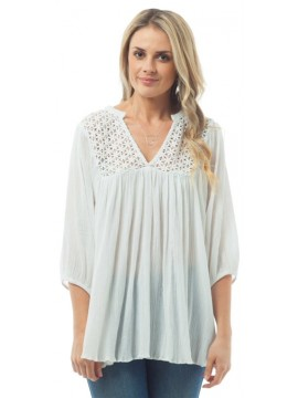 KAJA Linen Cotton Blend Bohemian Style Top in White