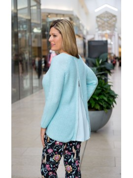 Equinox Ladies Sweater with Back Zip in Blue
