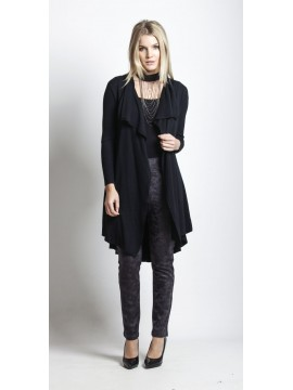 Holmes and Fallon Long Wrap Cardi in Black