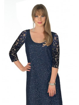 Lorissa Plus Size Aurora Sequin Lace Dress with 3/4 Sleeve