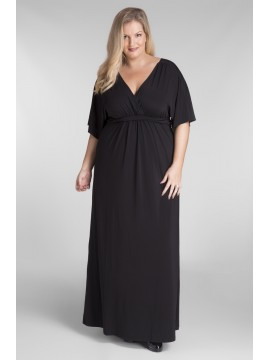 All Star Special Kimono Sleeve Plus Size Maxi Dress in Black