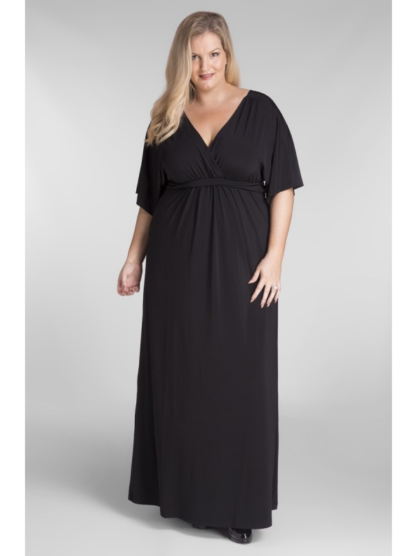 c15f8a58e31ae All Star Special Kimono Sleeve Plus Size Maxi Dress in Black