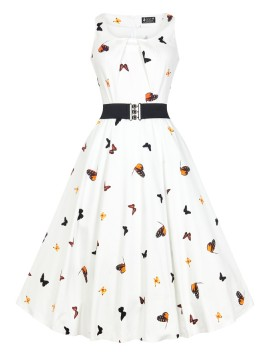 Vintage Jasmine Dress in White Butterfly