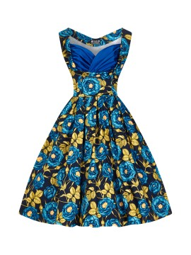 Vintage Madison Dress in Blue Rose