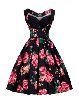 Vintage Madison Dress in Black with Roses
