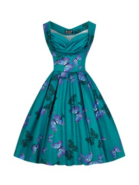 Vintage Madison Dress in Teal Butterfly