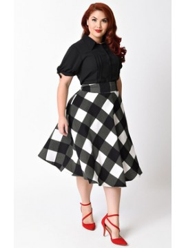Vintage Vivian Swing Skirt in Monochrome