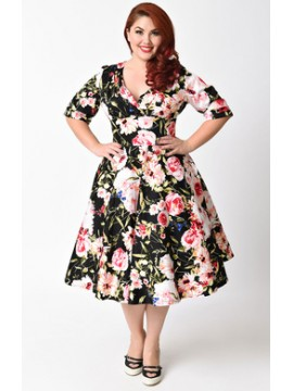 Vintage Delores Dress in Pink Rose