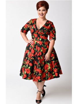Vintage Delores Dress in Red Rose