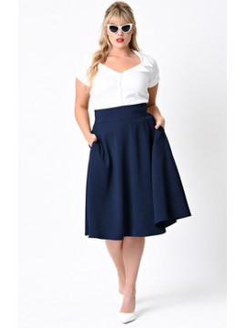 Vintage Vivian Swing Skirt in Navy