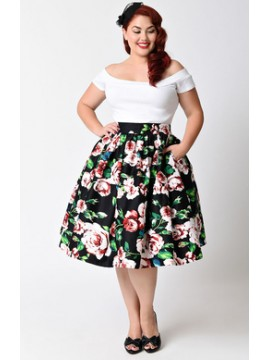Vintage Vivian Swing Skirt in Floral
