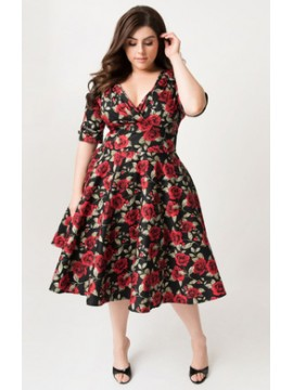 Vintage Delores Dress in Black and Red Floral