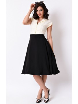Vintage Vivian Swing Skirt in Black