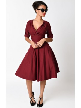 Vintage Delores Dress in Deep Red