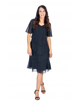 Layered Chiffon Dress in Black
