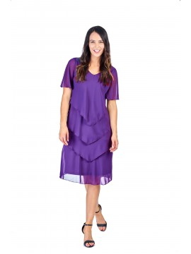 Layered Chiffon Dress in Purple