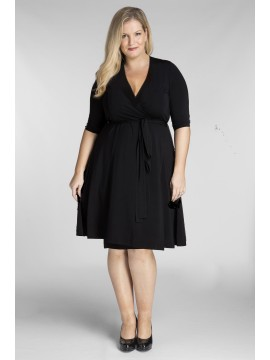 ALL STAR SPECIAL Classic Plus Size Wrap Dress in Black