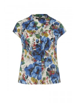 Vintage Style Esther Top in Blue Blossoming