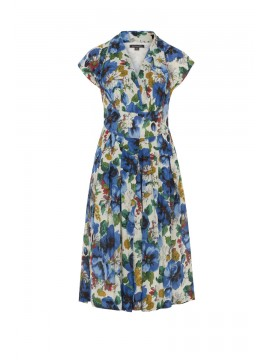 Vintage Style Flora Dress in Blue Blossoming