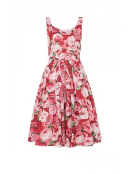 Vintage Style Isobel Dress in Brilliant Pink Peonies