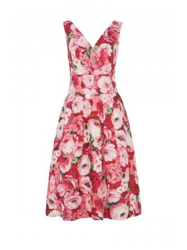 Vintage Style Lillian Dress in Brilliant Pink Peonies