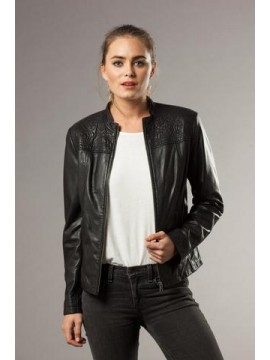 KAJA Jessica Leather Jacket in Black