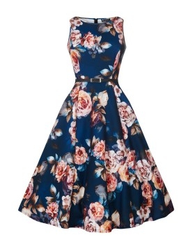 Vintage Hepburn Dress in Sapphire Rose